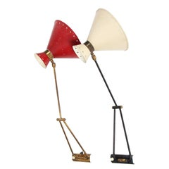 1950s French Pair of Red and Cream Wall Lights by René Mathieu for Lunel