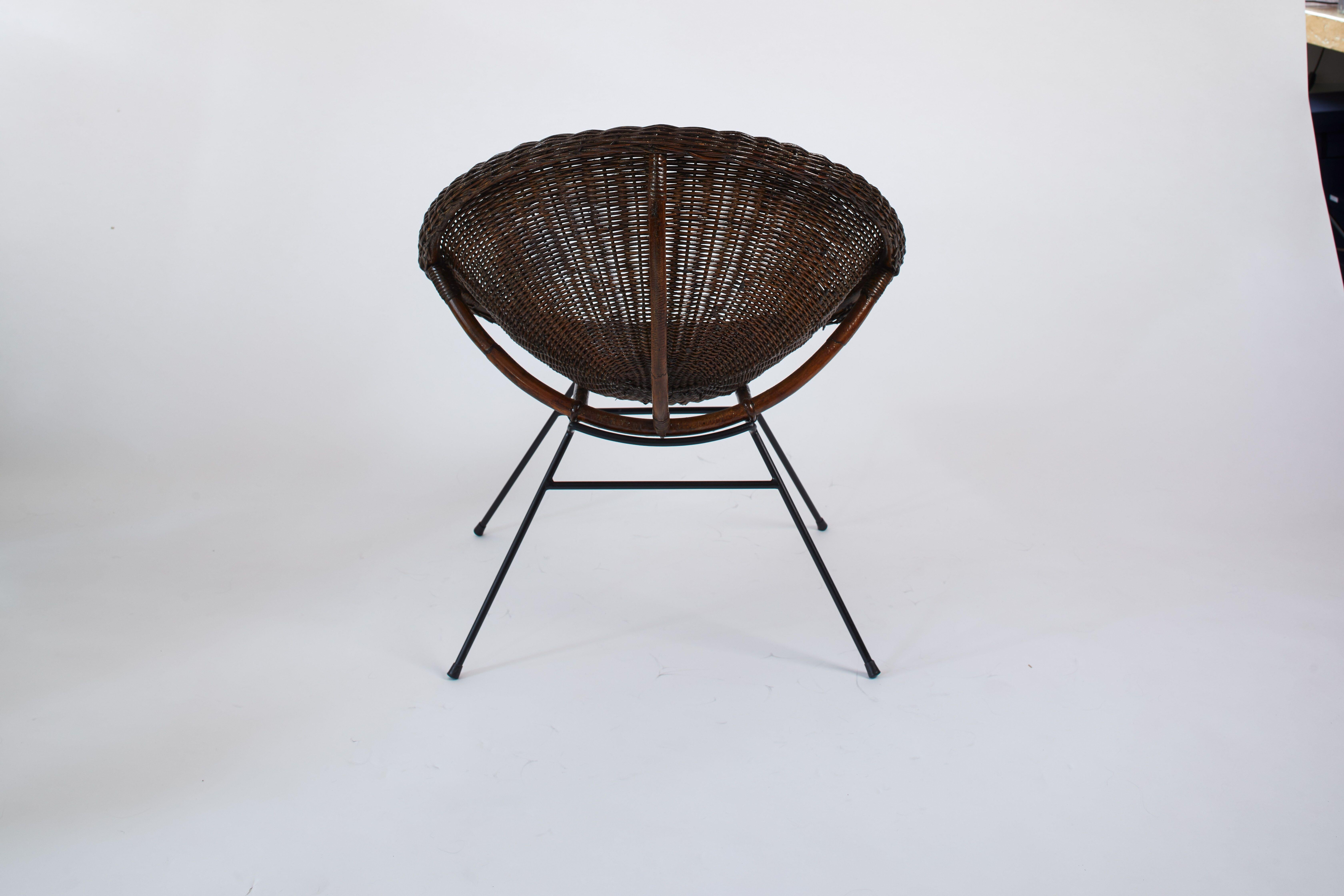 Stupendous 1950S French Pair Of Saucer Chairs In Rattan And Black Metal Forskolin Free Trial Chair Design Images Forskolin Free Trialorg