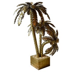 1950s French Palm Tree in Brass