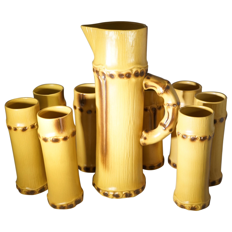 1950s French Pol Chambost Ceramic Faux Bamboo Serveware Set