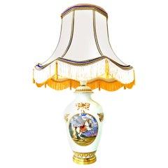 "1950s French Porcelain and Gilt Brass ""Equestrian"" Lamp by Porcelaine De Paris"