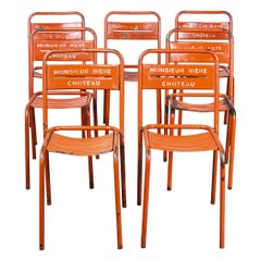 1950's French Red Metal Stacking Outdoor Chairs, Set of Seven