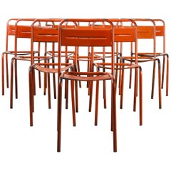 1950's French Red Metal Stacking Outdoor Chairs, Set of Ten