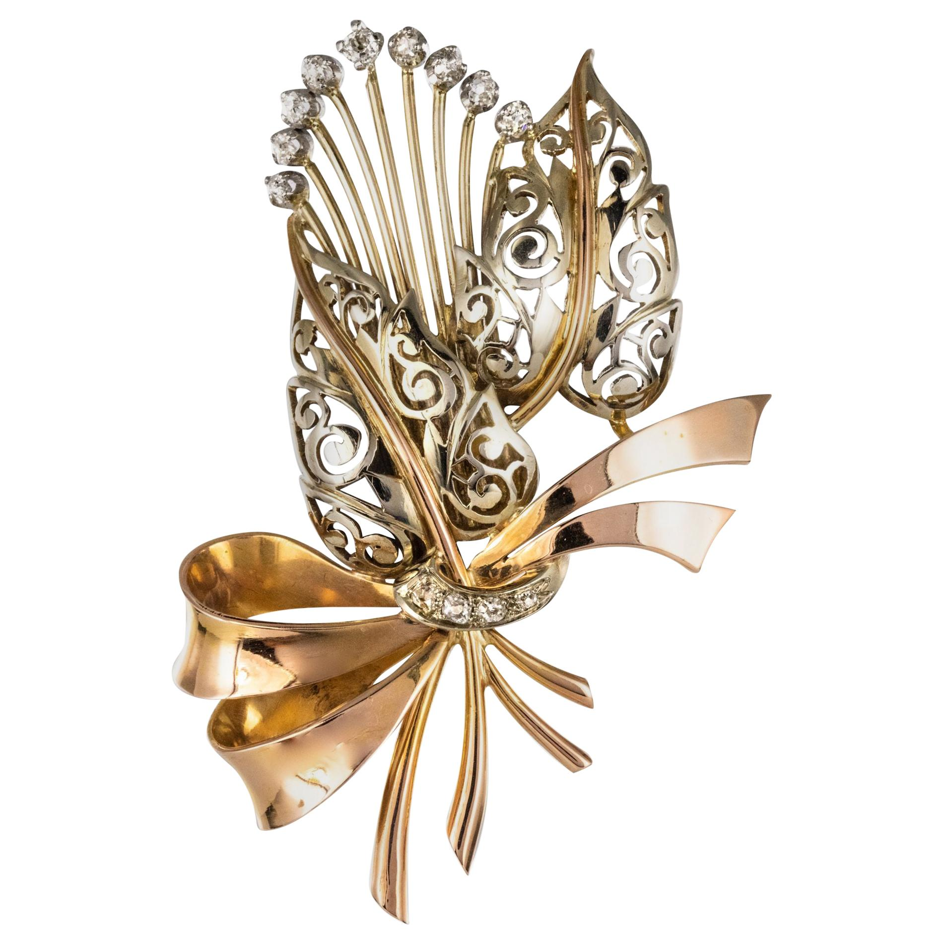 1950s French Retro Floral Bouquet Diamond 2 Gold Brooch