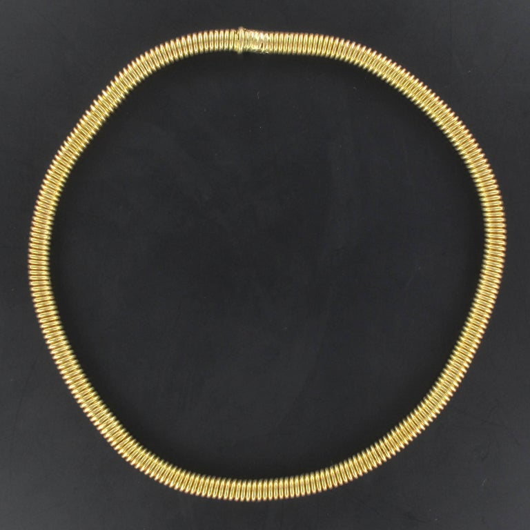 1950s French Retro Vintage 18 Karats Yellow Gold Tubogas Necklace  In New Condition For Sale In Poitiers, FR