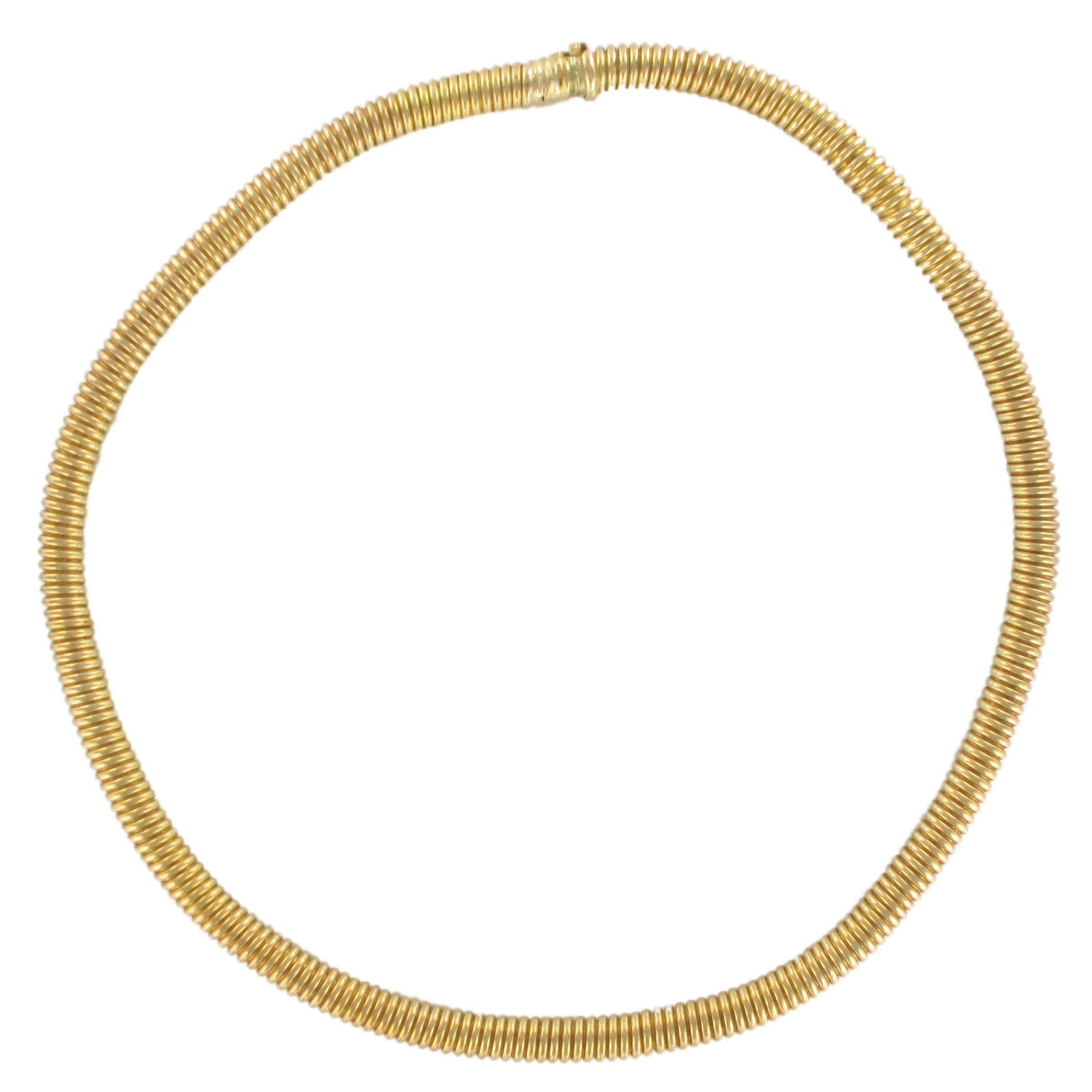 1950s French Retro Vintage 18 Karats Yellow Gold Tubogas Necklace