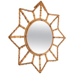 1950s French Riviera Bamboo and Rattan Sunburst Starburst Mirror