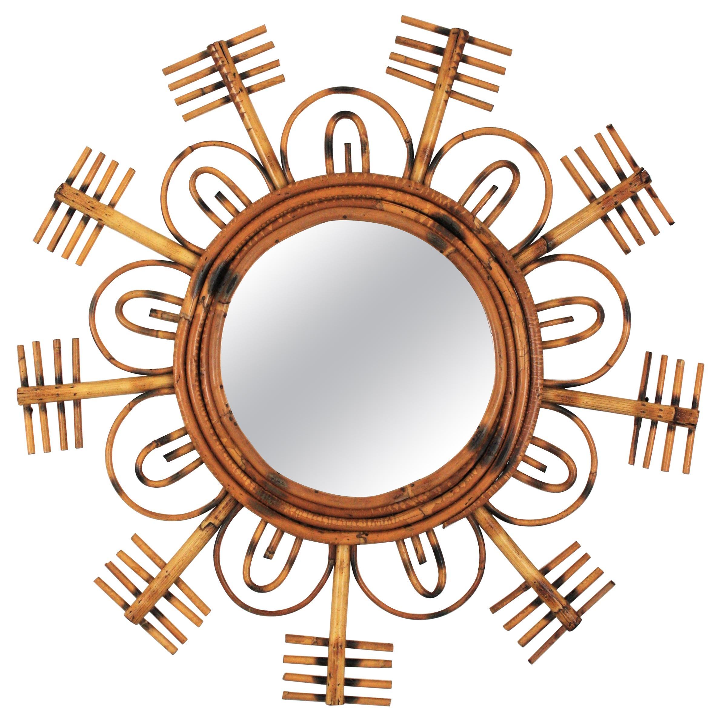 1950s French Riviera Rattan Flower Burst Sunburst Mirror