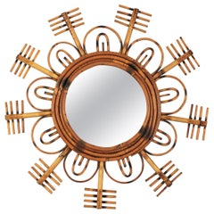 1950s French Riviera Rattan Flower Burst Sunburst Mirror