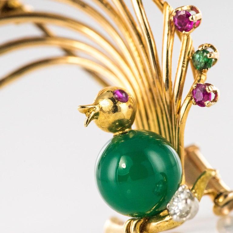 1950s French Ruby Emerald Chrysoprase Diamond 18 Karat Yellow Gold Bird Brooch For Sale 6