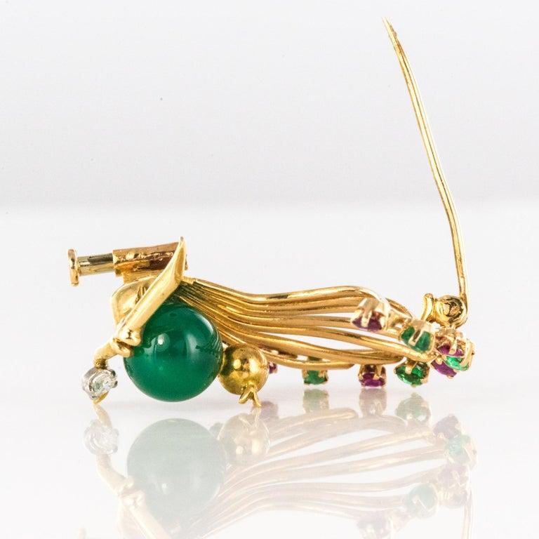 1950s French Ruby Emerald Chrysoprase Diamond 18 Karat Yellow Gold Bird Brooch For Sale 9