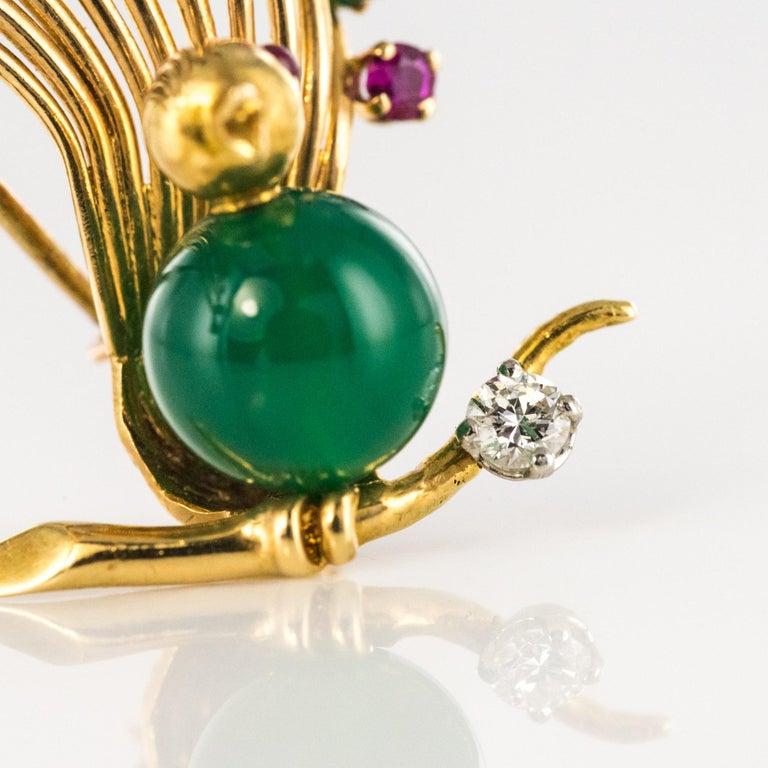 1950s French Ruby Emerald Chrysoprase Diamond 18 Karat Yellow Gold Bird Brooch For Sale 10