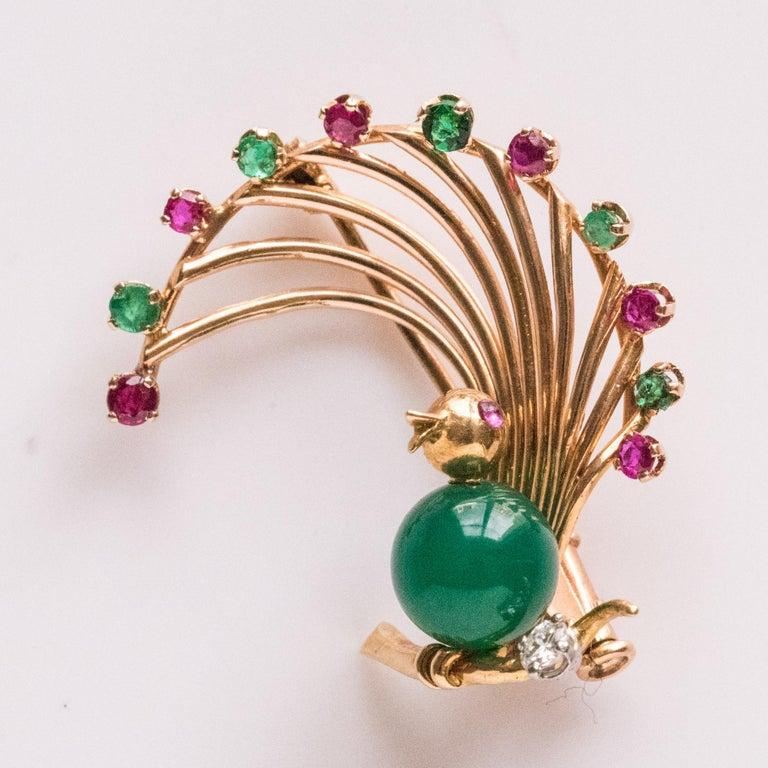 1950s French Ruby Emerald Chrysoprase Diamond 18 Karat Yellow Gold Bird Brooch For Sale 11