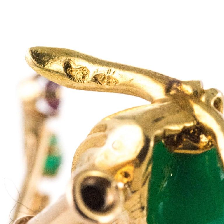 1950s French Ruby Emerald Chrysoprase Diamond 18 Karat Yellow Gold Bird Brooch For Sale 13