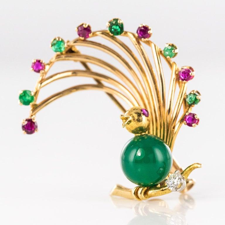 Retro 1950s French Ruby Emerald Chrysoprase Diamond 18 Karat Yellow Gold Bird Brooch For Sale
