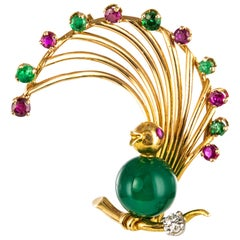 1950s French Ruby Emerald Chrysoprase Diamond 18 Karat Yellow Gold Bird Brooch