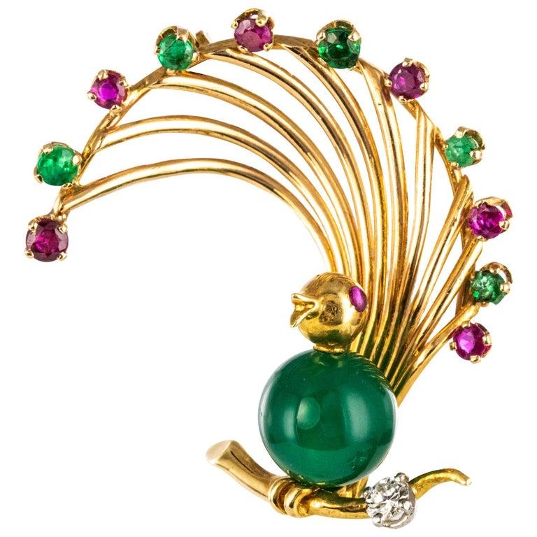 1950s French Ruby Emerald Chrysoprase Diamond 18 Karat Yellow Gold Bird Brooch For Sale