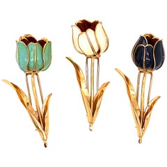 1950s French Ruby Enamel Flower Pins Brooches Set of 3