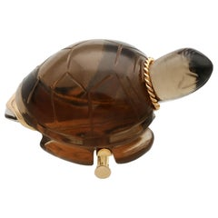 1950s French Smoky Quartz and Yellow Gold Turtle Brooch