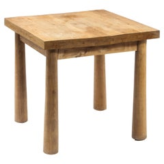 1950s French Solid Oak Square Breakfast Table