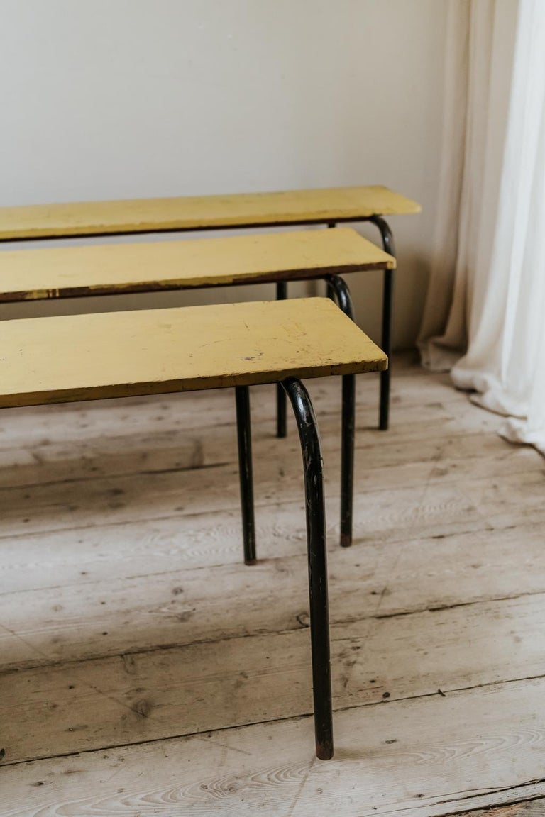These stackable Stella tables were used in French schools in the 1950s,