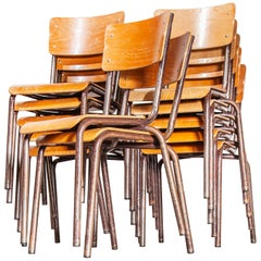 1950s French Stacking Metal Frame School Dining Chairs, Set of Twelve