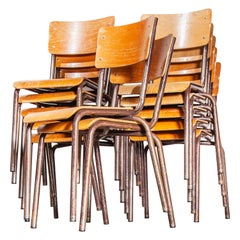 French Stacking Metal Frame School Dining Chairs, Various Quantity Available