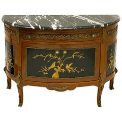 1950s French Style Chinoiserie Demilune Bronze and Marble Top Cabinet