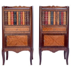 1950s French Style Inlaid Mahogany and Leather Faux Book Side Tables, Pair