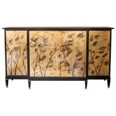 1950s French Tall Ebonized Cabinet, Bar, TV Cabinet, Gilded Bamboo Decor