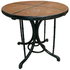 1950s French Thonet Style Wood and Woven Wicker Round Table