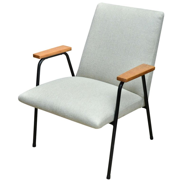 1950s French Upholstered Metal Armchair with Wooden Armrests For Sale