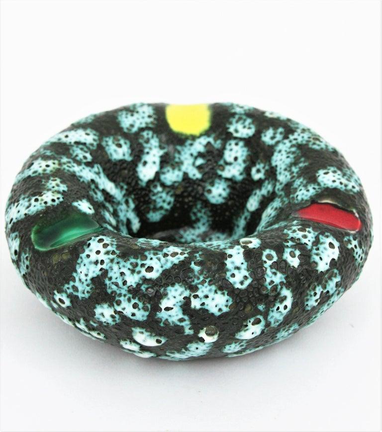 Vallauris Majolica Fat Lava Ceramic Round Ashtray, France 1950s For Sale 4