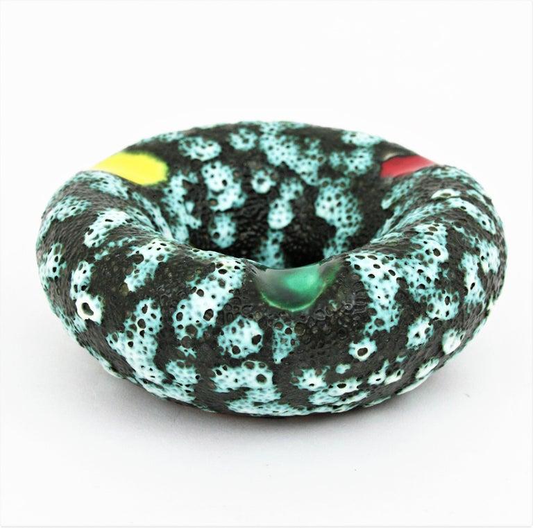 Vallauris Majolica Fat Lava Ceramic Round Ashtray, France 1950s For Sale 5