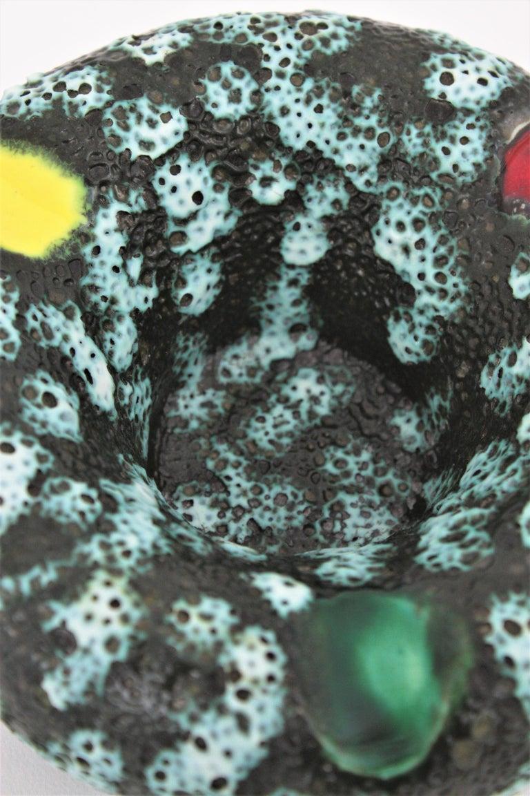 Vallauris Majolica Fat Lava Ceramic Round Ashtray, France 1950s For Sale 1