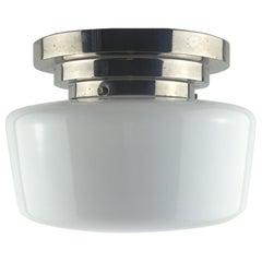 French Modernist White Opaline Flush Mount Ceiling Light