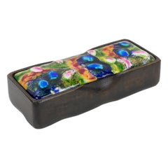 1950s French Wood and Multicolor Enamel Box
