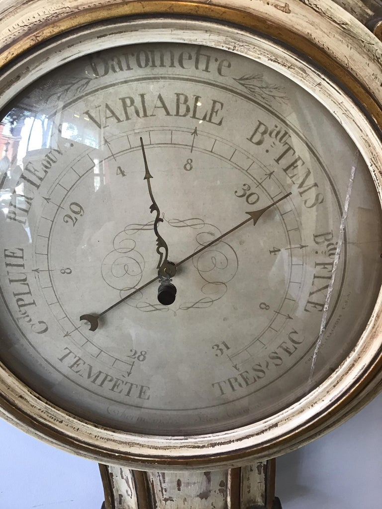 1950s French Wood Barometer In Good Condition For Sale In Tarrytown, NY