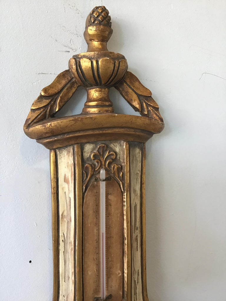 Mid-20th Century 1950s French Wood Barometer For Sale