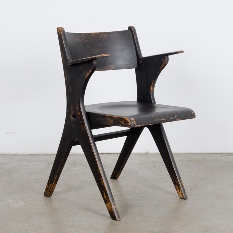 1950s French Wooden Folding Chair In Good Condition In High Point, NC
