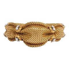 1950s French Woven Gold Bracelet with Diamond Accents