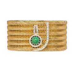 "1950s French Woven Gold Bracelet with Turquoise and Diamond ""Cuff Button"""