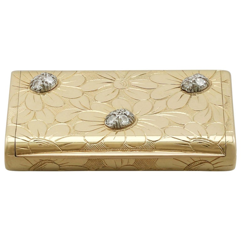 1950s French Yellow Gold and Diamond Box by Van Cleef & Arpels For Sale