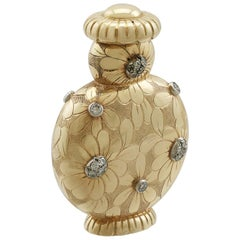 1950s French Yellow Gold and Diamond Scent Bottle by Van Cleef & Arpels