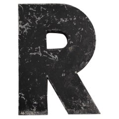 1950s French Zinc Letters, Letter Black R