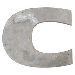 1950s French Zinc Letters, Letter Zinc C