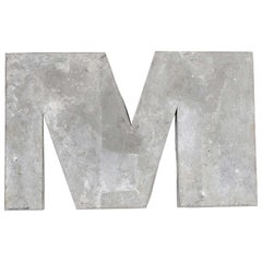 1950s French Zinc Letters, Letter Zinc M