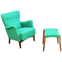 1950s Fritz Hansen Green Button Upholstered Wingback Lounge Armchair Footstool