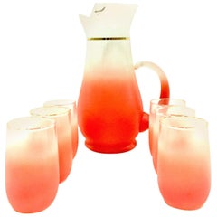 1950'S Frosted Peach and 22-Karat Gold Drinks Set of Seven Pieces by, Blendo