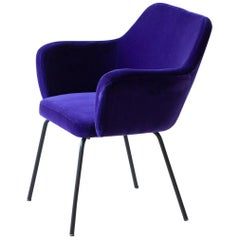 1950s Fully Restored 'Airone' Chairs in Purple Velvet by Studio PFR for Arflex